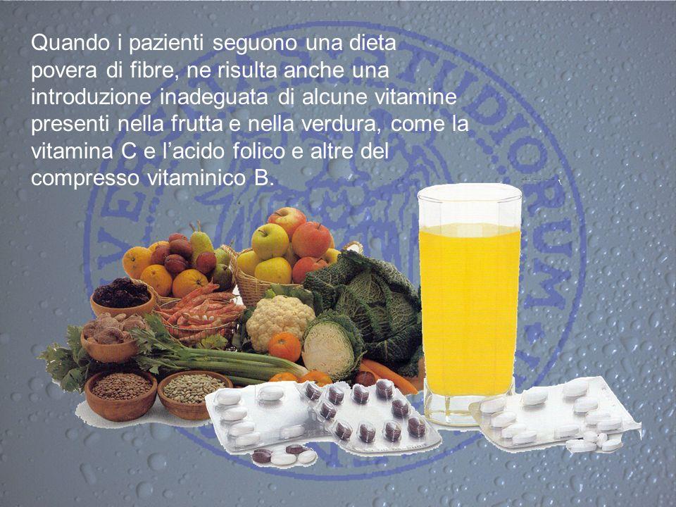 Quando i pazienti seguono una dieta povera di fibre, ne risulta anche una introduzione inadeguata di alcune vitamine presenti nella frutta e nella verdura, come la vitamina C e l'acido folico e altre del compresso vitaminico B.