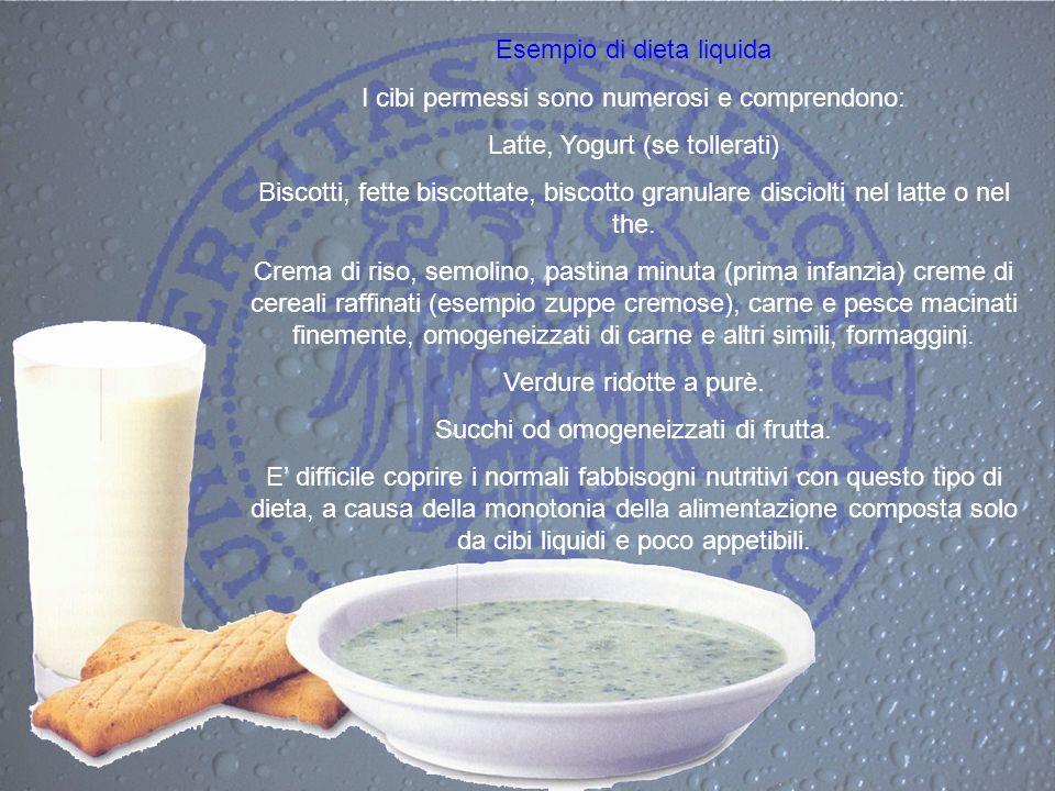 Esempio di dieta liquida I cibi permessi sono numerosi e comprendono: