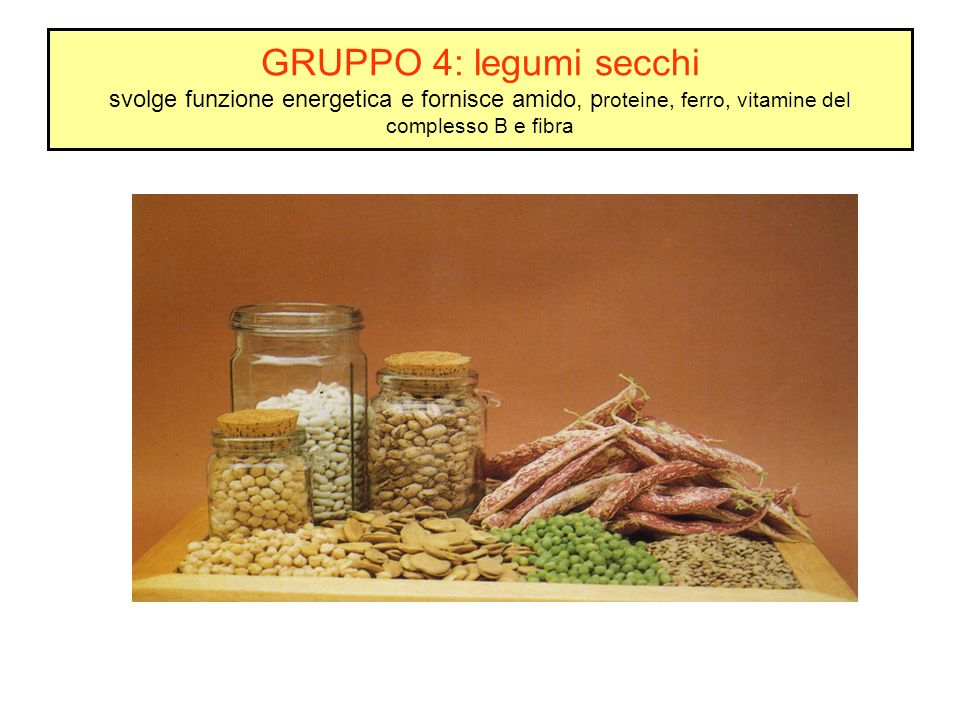 GRUPPO 4: legumi secchi svolge funzione energetica e fornisce amido, proteine, ferro, vitamine del complesso B e fibra