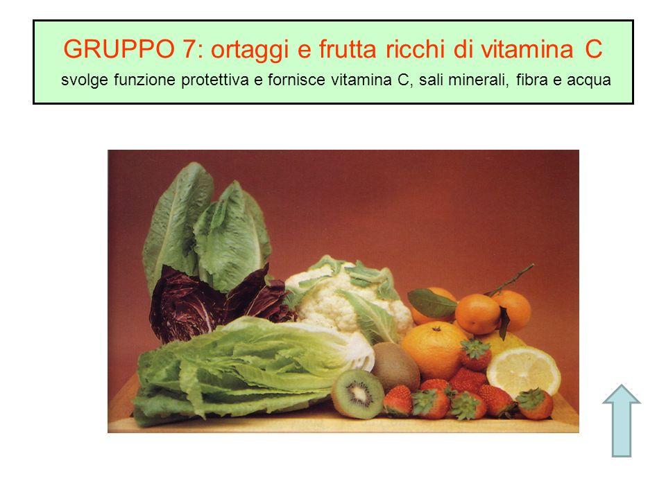 GRUPPO 7: ortaggi e frutta ricchi di vitamina C svolge funzione protettiva e fornisce vitamina C, sali minerali, fibra e acqua