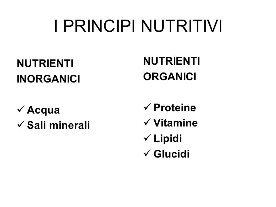 I PRINCIPI NUTRITIVI NUTRIENTI NUTRIENTI ORGANICI INORGANICI Proteine