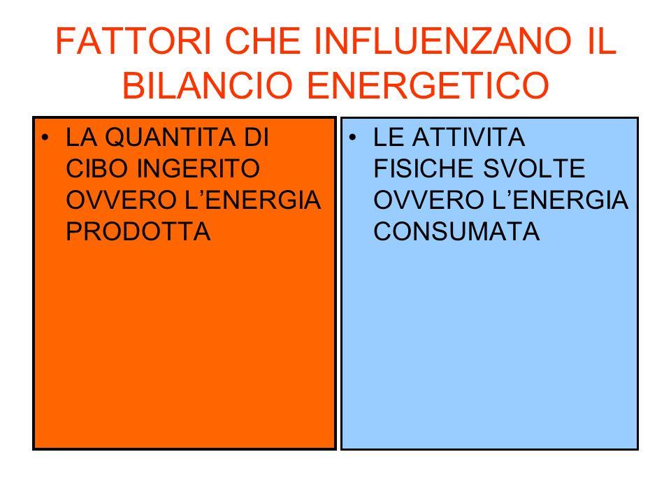 FATTORI CHE INFLUENZANO IL BILANCIO ENERGETICO