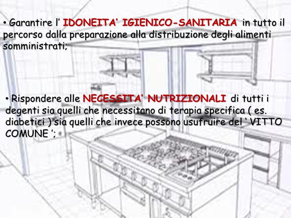 Garantire l' IDONEITA' IGIENICO-SANITARIA in tutto il percorso dalla preparazione alla distribuzione degli alimenti somministrati;