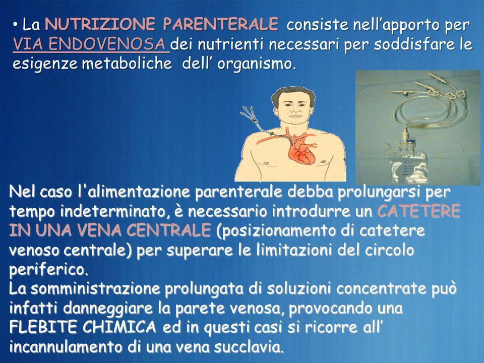La NUTRIZIONE PARENTERALE consiste nell'apporto per VIA ENDOVENOSA dei nutrienti necessari per soddisfare le esigenze metaboliche dell' organismo.