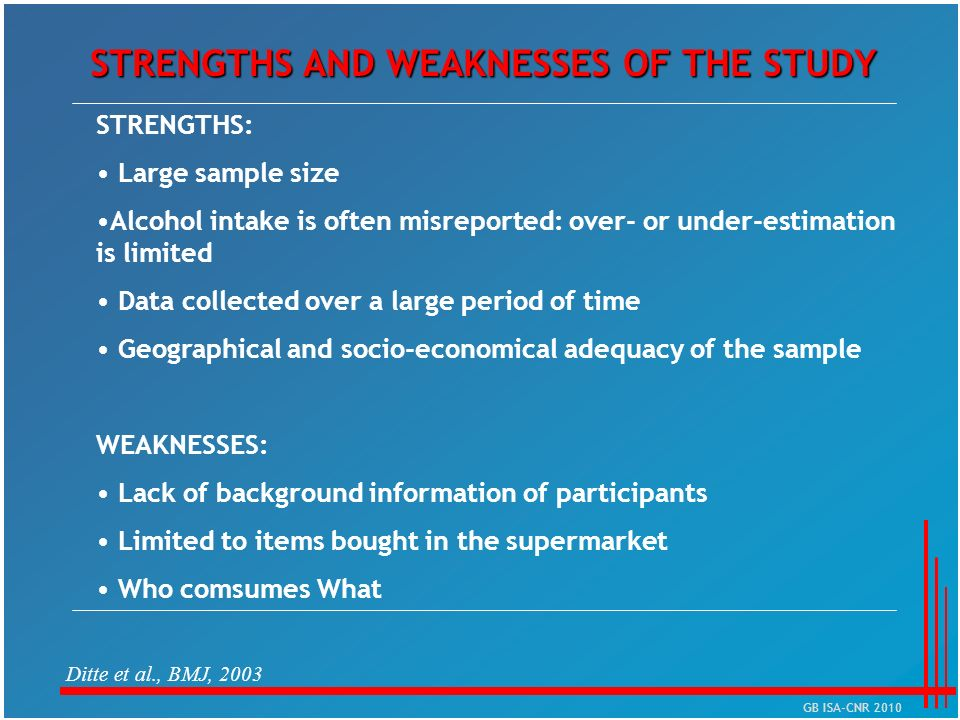 STRENGTHS AND WEAKNESSES OF THE STUDY