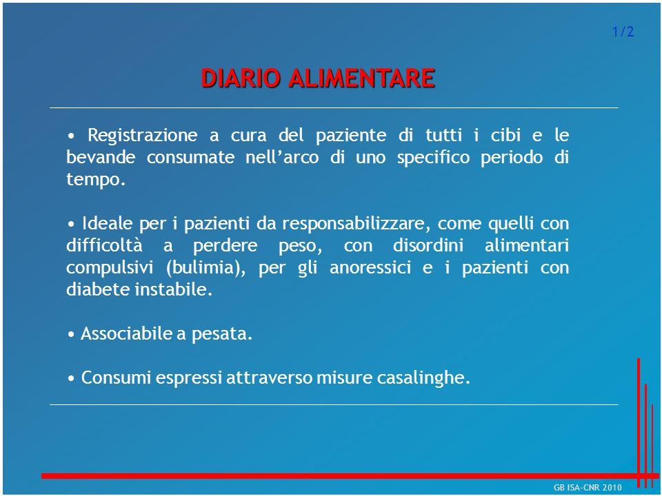 1/2 DIARIO ALIMENTARE. • Registrazione a cura del paziente di tutti i cibi e le bevande consumate nell'arco di uno specifico periodo di tempo.