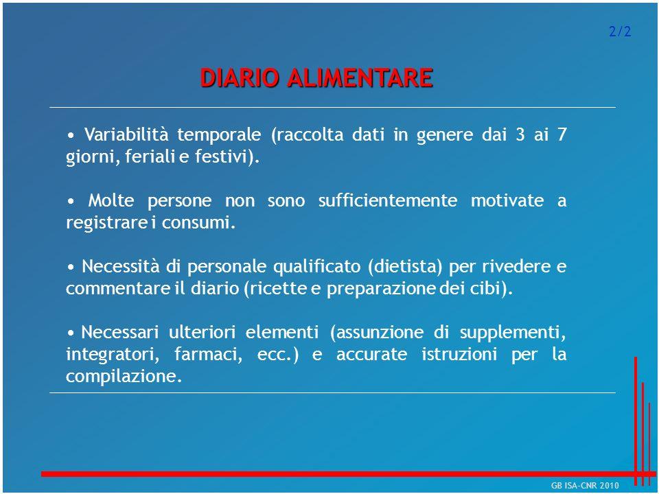 2/2 DIARIO ALIMENTARE. • Variabilità temporale (raccolta dati in genere dai 3 ai 7 giorni, feriali e festivi).