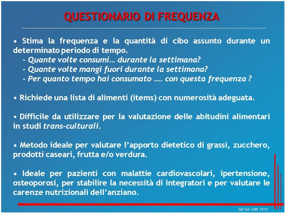 QUESTIONARIO DI FREQUENZA