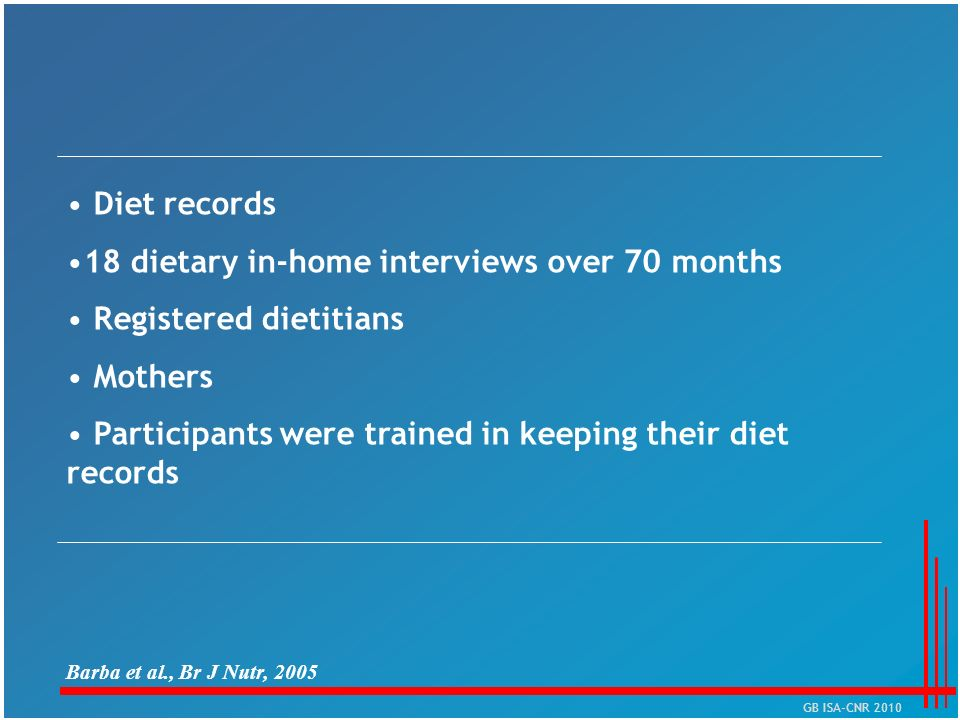 18 dietary in-home interviews over 70 months Registered dietitians