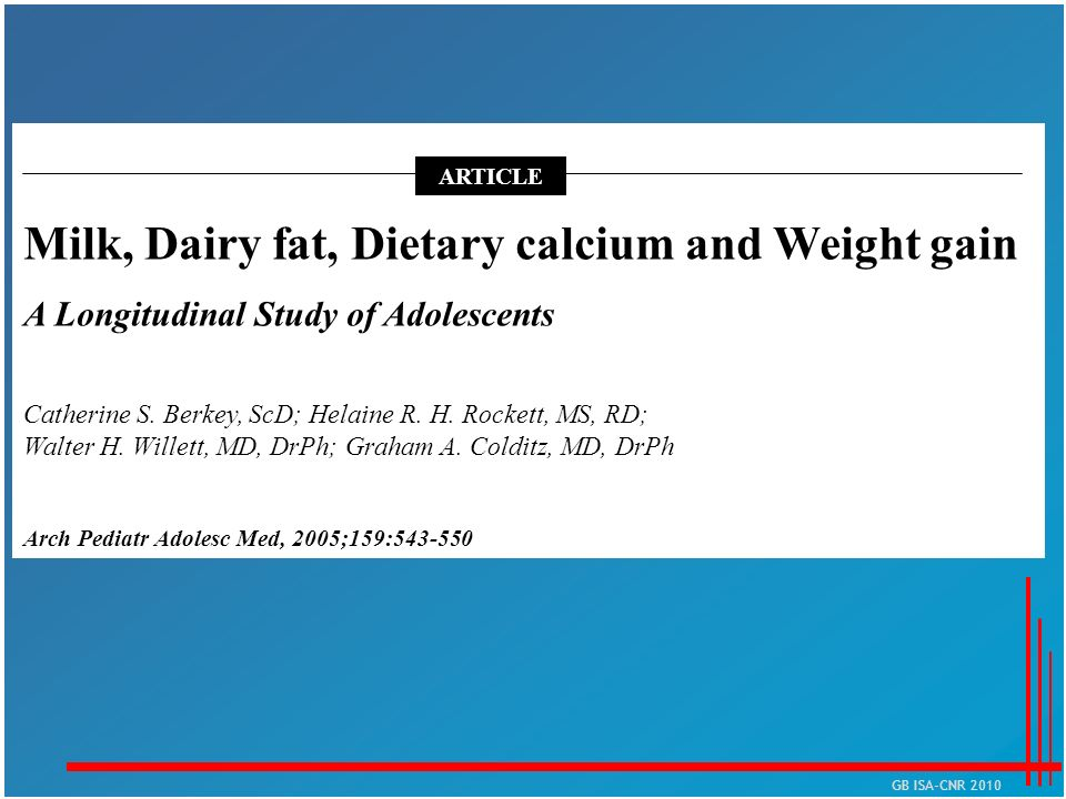 Milk, Dairy fat, Dietary calcium and Weight gain