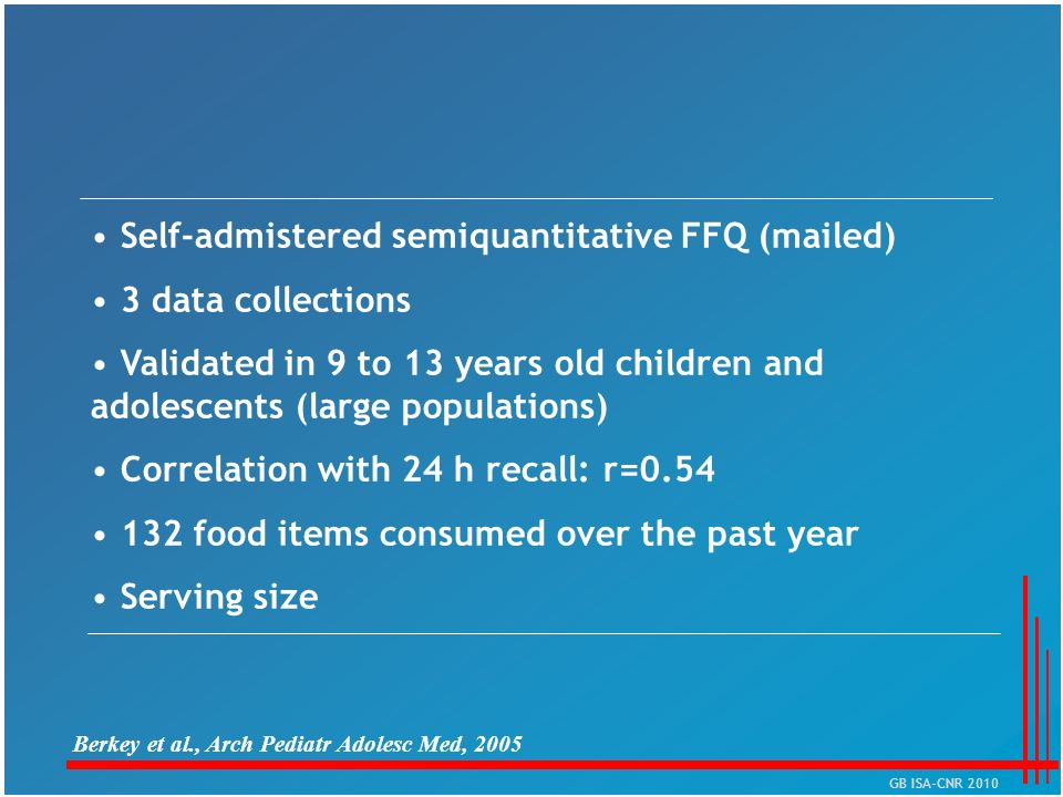 Self-admistered semiquantitative FFQ (mailed) 3 data collections