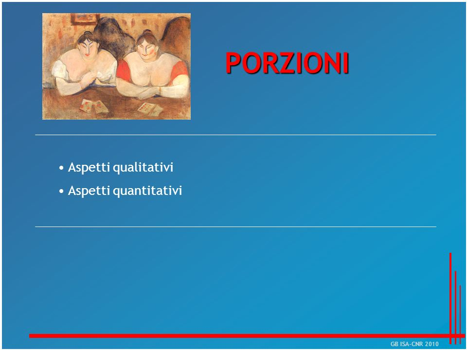 PORZIONI Aspetti qualitativi Aspetti quantitativi GB ISA-CNR 2010