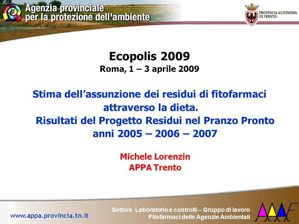 Ecopolis 2009 Stima dell'assunzione dei residui di fitofarmaci