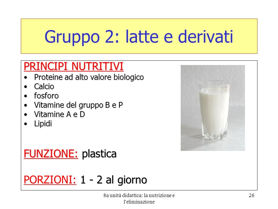 Gruppo 2: latte e derivati