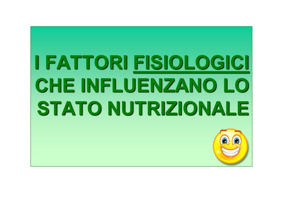 I FATTORI FISIOLOGICI CHE INFLUENZANO LO STATO NUTRIZIONALE