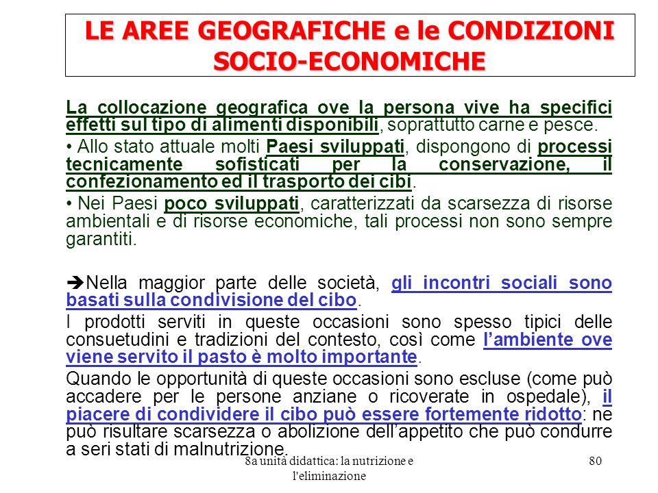 LE AREE GEOGRAFICHE e le CONDIZIONI SOCIO-ECONOMICHE