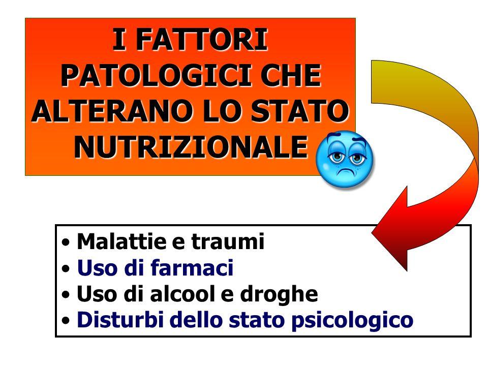I FATTORI PATOLOGICI CHE ALTERANO LO STATO NUTRIZIONALE