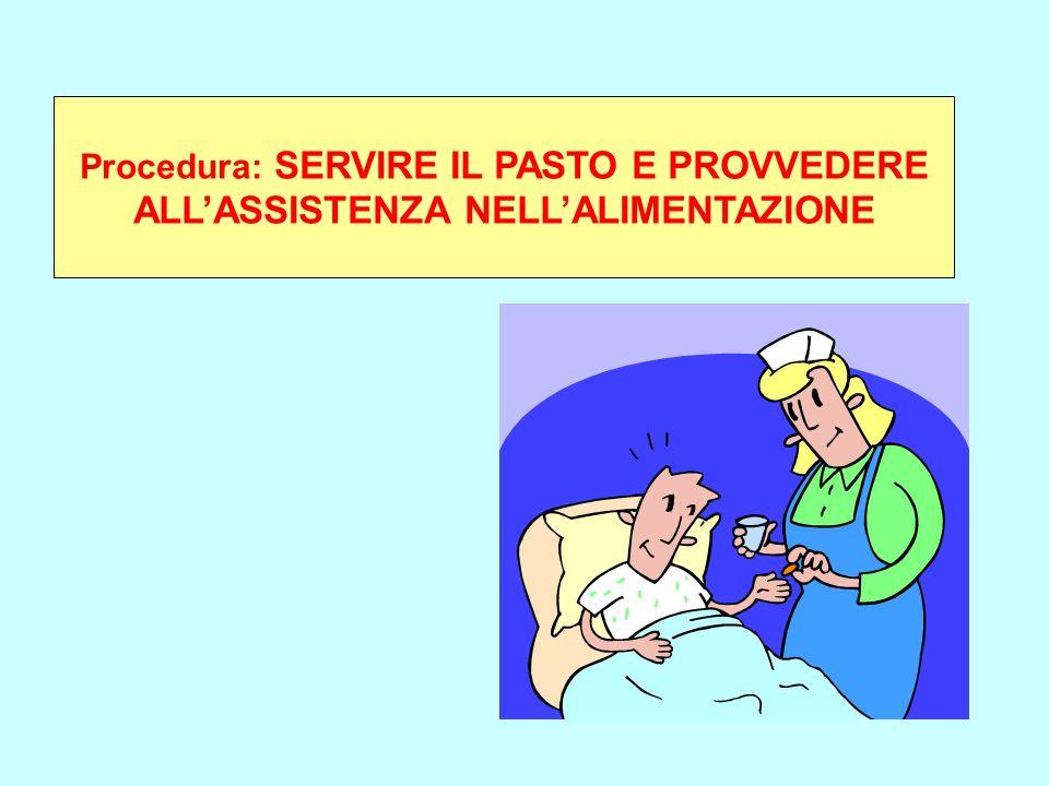 Procedura: SERVIRE IL PASTO E PROVVEDERE ALL'ASSISTENZA NELL'ALIMENTAZIONE