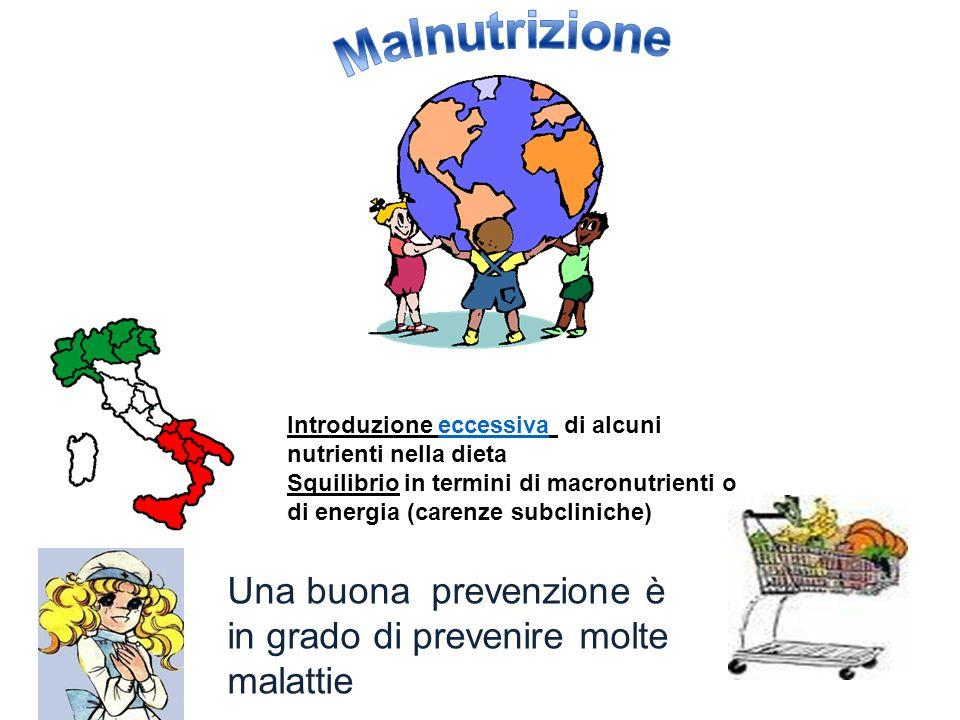 Malnutrizione Introduzione eccessiva di alcuni nutrienti nella dieta. Squilibrio in termini di macronutrienti o di energia (carenze subcliniche)