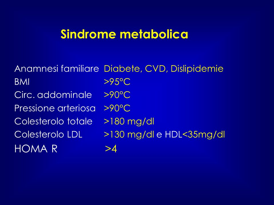 Sindrome metabolica HOMA R >4