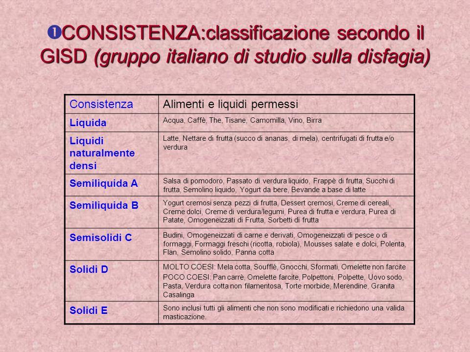 CONSISTENZA:classificazione secondo il GISD (gruppo italiano di studio sulla disfagia)