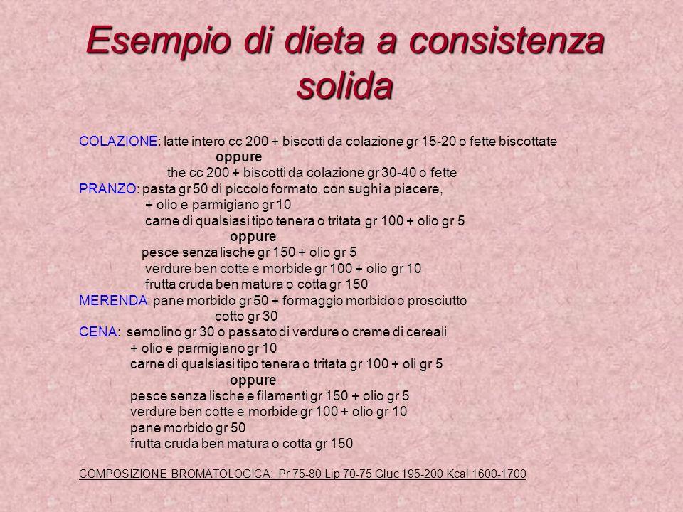 Esempio di dieta a consistenza solida