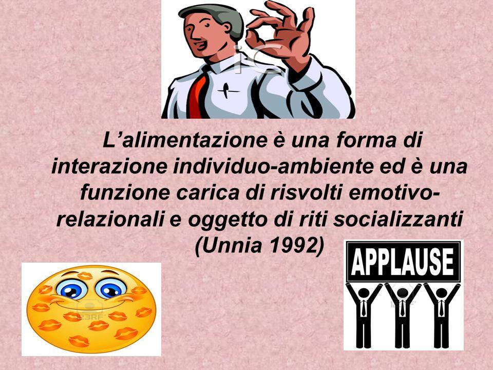 L'alimentazione è una forma di interazione individuo-ambiente ed è una funzione carica di risvolti emotivo-relazionali e oggetto di riti socializzanti (Unnia 1992)