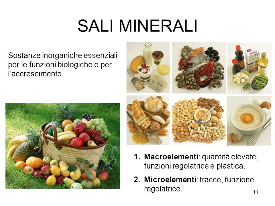 SALI MINERALI Sostanze inorganiche essenziali