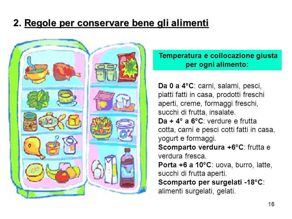 Temperatura e collocazione giusta per ogni alimento: