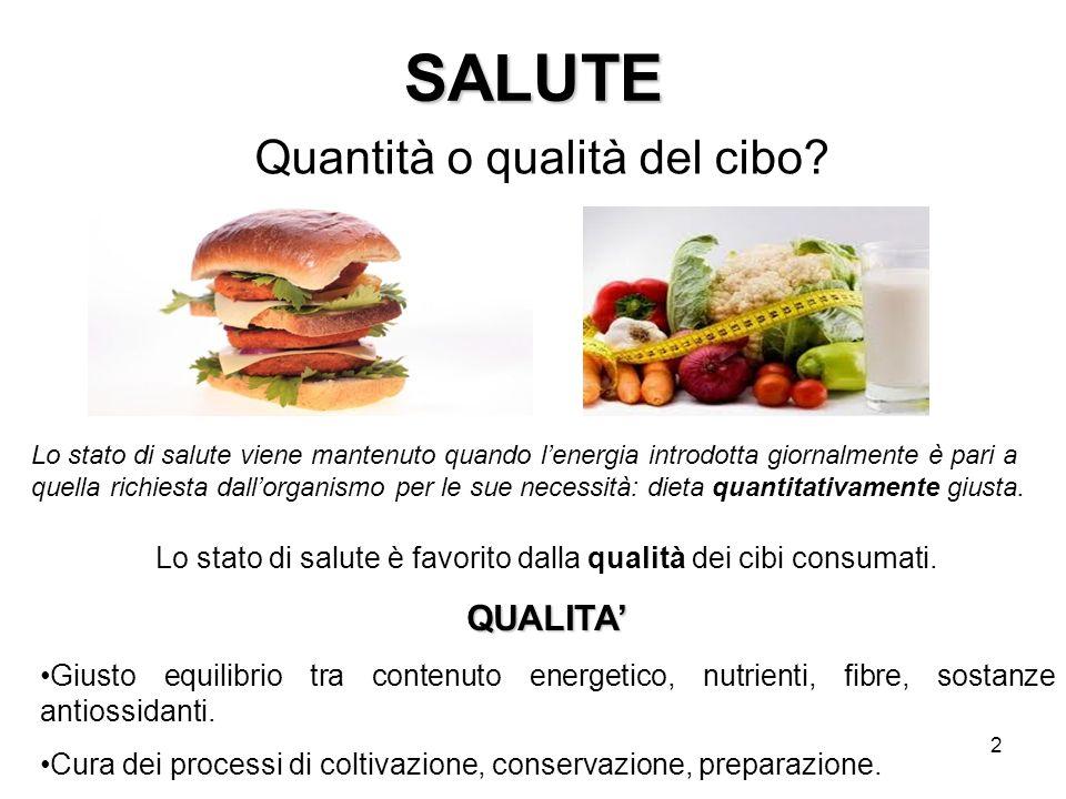 SALUTE Quantità o qualità del cibo QUALITA'