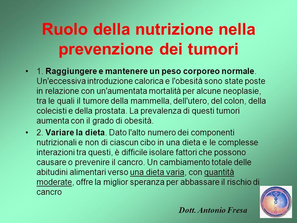Ruolo della nutrizione nella prevenzione dei tumori