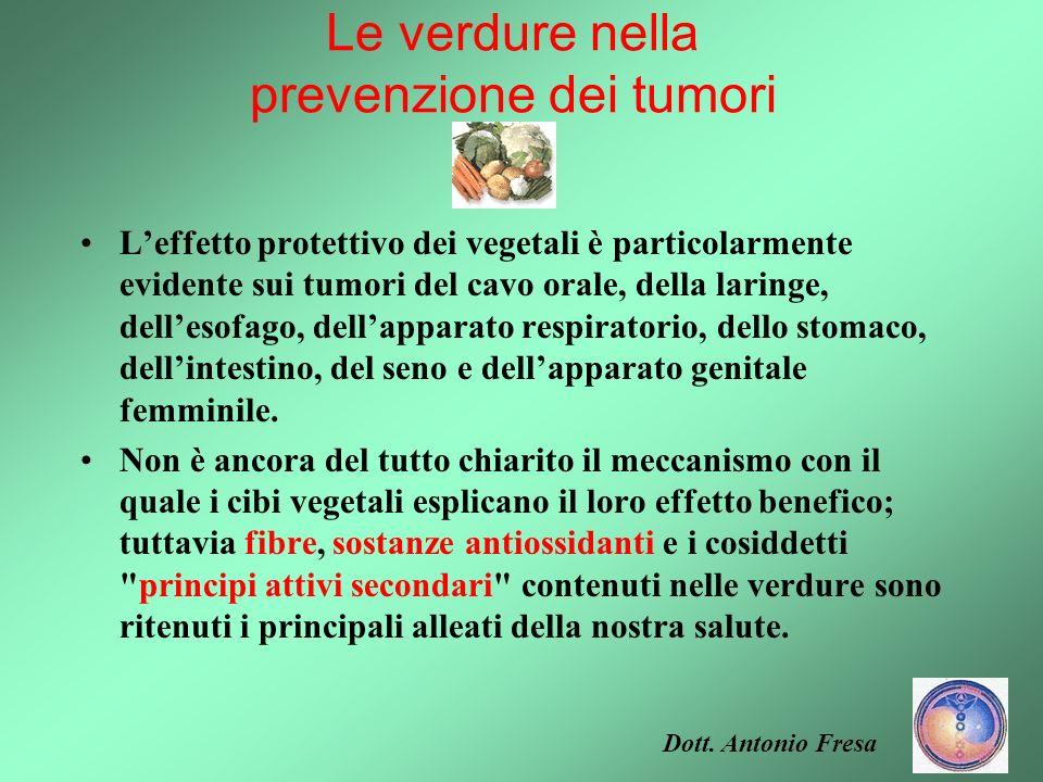 Le verdure nella prevenzione dei tumori