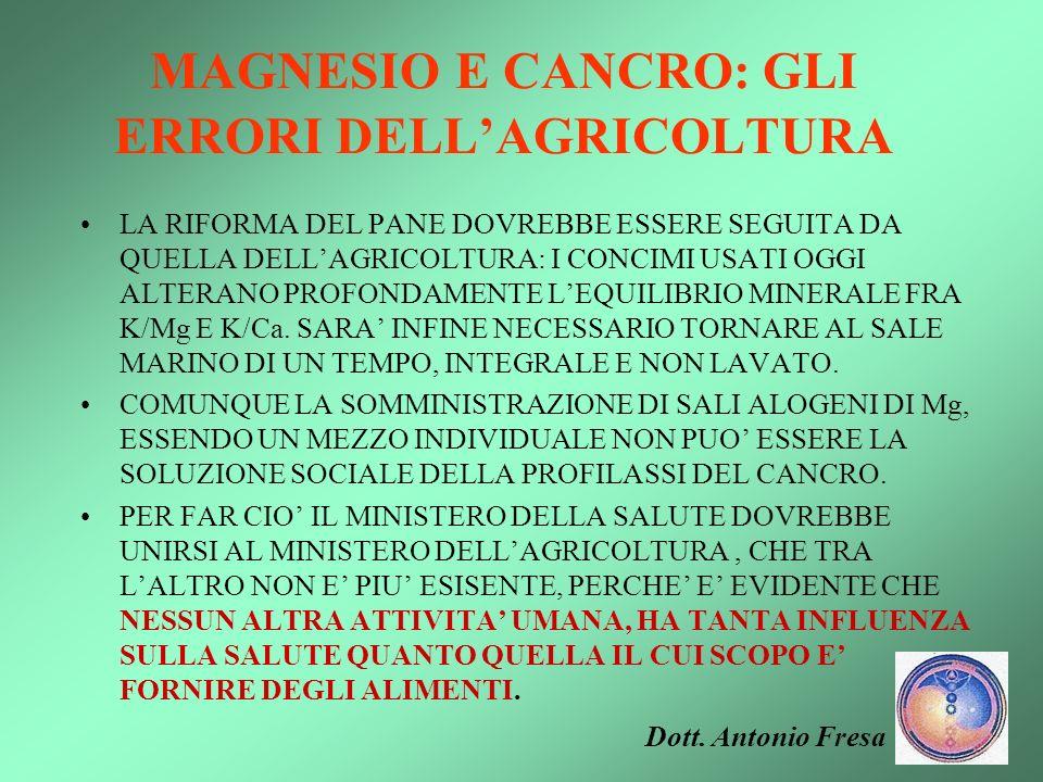 MAGNESIO E CANCRO: GLI ERRORI DELL'AGRICOLTURA