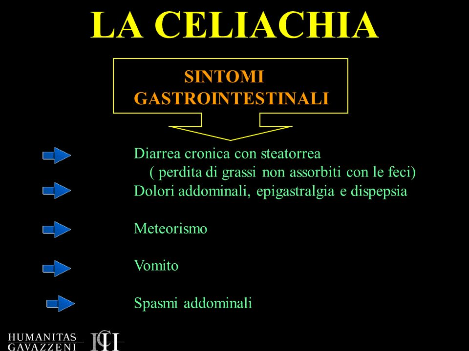 LA CELIACHIA SINTOMI GASTROINTESTINALI Diarrea cronica con steatorrea