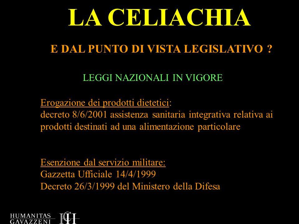 LA CELIACHIA E DAL PUNTO DI VISTA LEGISLATIVO
