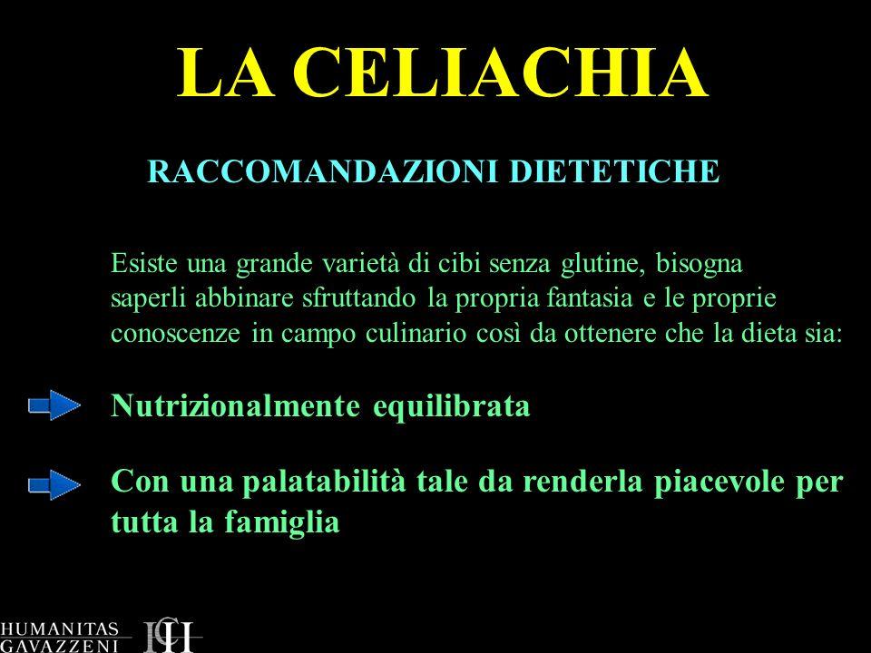 LA CELIACHIA RACCOMANDAZIONI DIETETICHE Nutrizionalmente equilibrata
