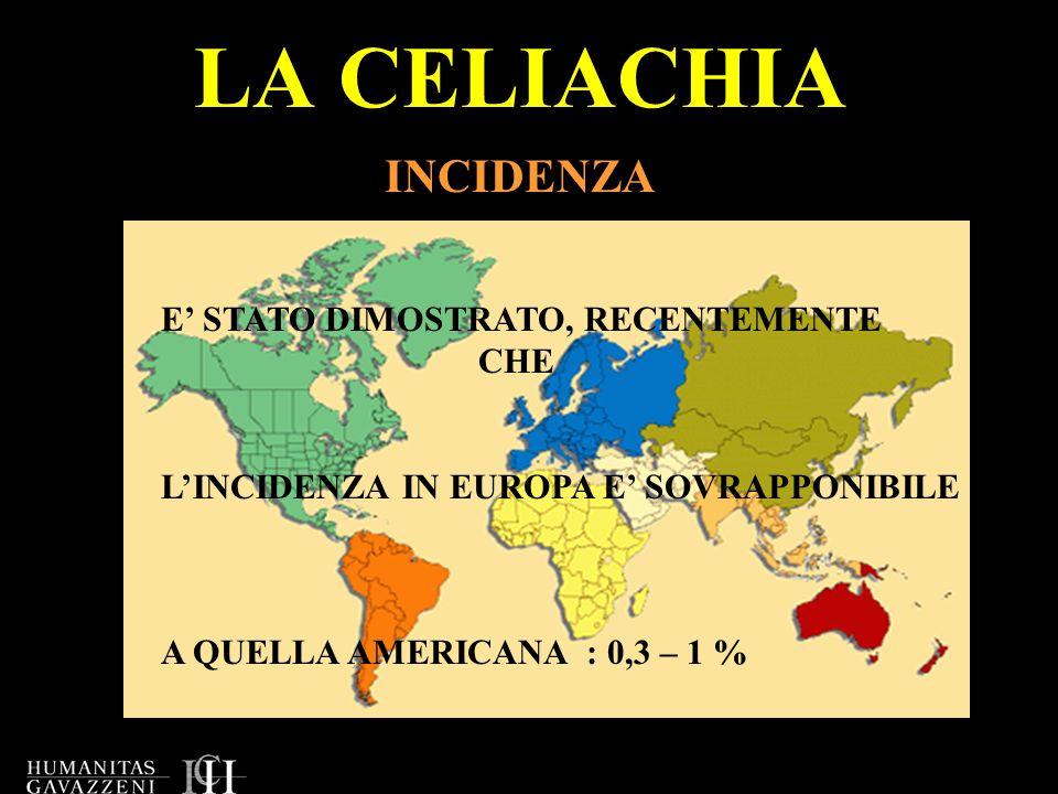 LA CELIACHIA INCIDENZA E' STATO DIMOSTRATO, RECENTEMENTE CHE