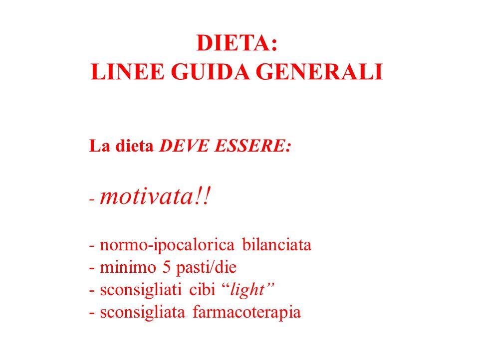 DIETA: LINEE GUIDA GENERALI