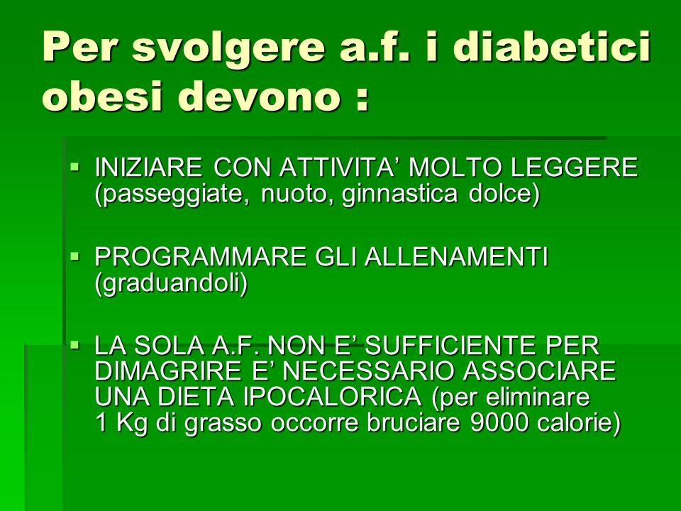 Per svolgere a.f. i diabetici obesi devono :