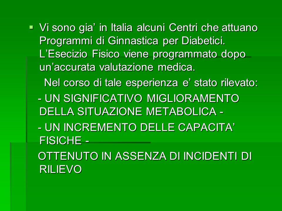 Vi sono gia' in Italia alcuni Centri che attuano Programmi di Ginnastica per Diabetici. L'Esecizio Fisico viene programmato dopo un'accurata valutazione medica.