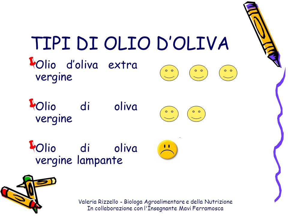 TIPI DI OLIO D'OLIVA Olio d'oliva extra vergine Olio di oliva vergine