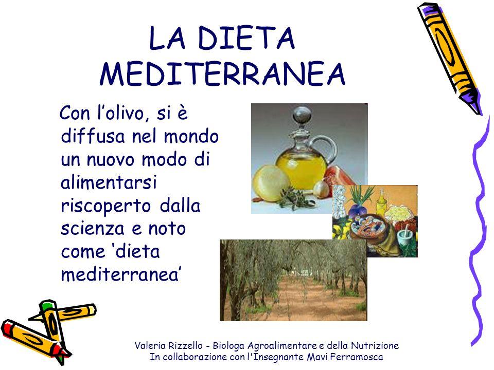 LA DIETA MEDITERRANEA Con l'olivo, si è diffusa nel mondo un nuovo modo di alimentarsi riscoperto dalla scienza e noto come 'dieta mediterranea'