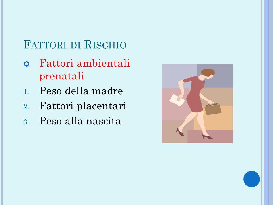Fattori di Rischio Fattori ambientali prenatali Peso della madre
