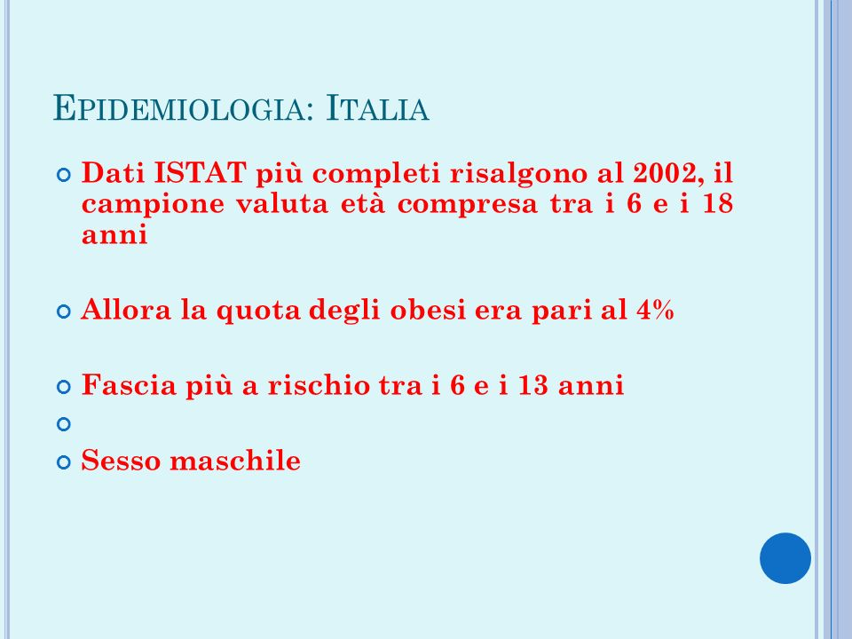 Epidemiologia: Italia