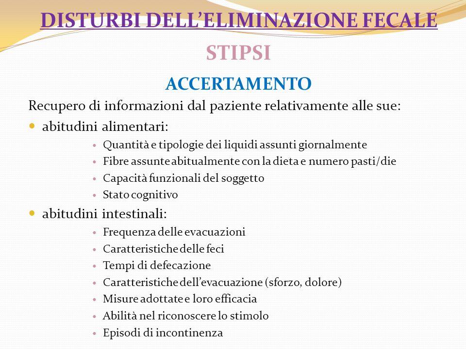 disturbi dell'eliminazione fecale STIPSI accertamento