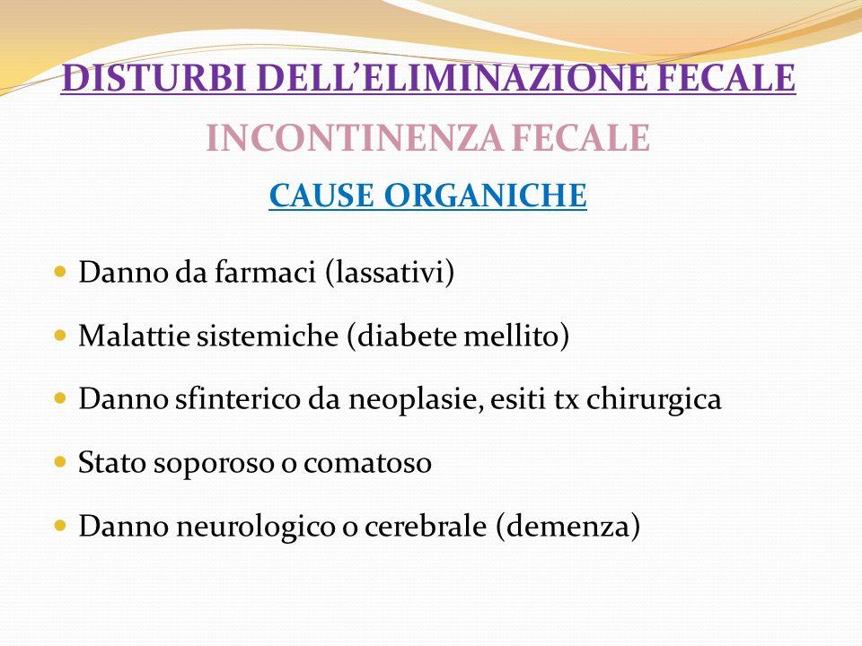 disturbi dell'eliminazione fecale INCONTINENZA FECALE CAUSE ORGANICHE