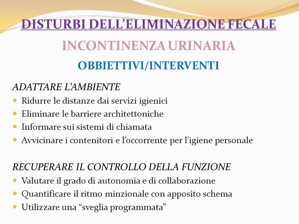 disturbi dell'eliminazione fecale INCONTINENZA URINARIA OBBIETTIVI/INTERVENTI