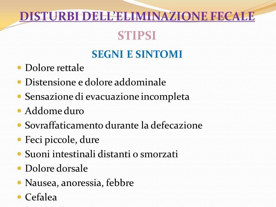 disturbi dell'eliminazione fecale STIPSI Segni e sintomi