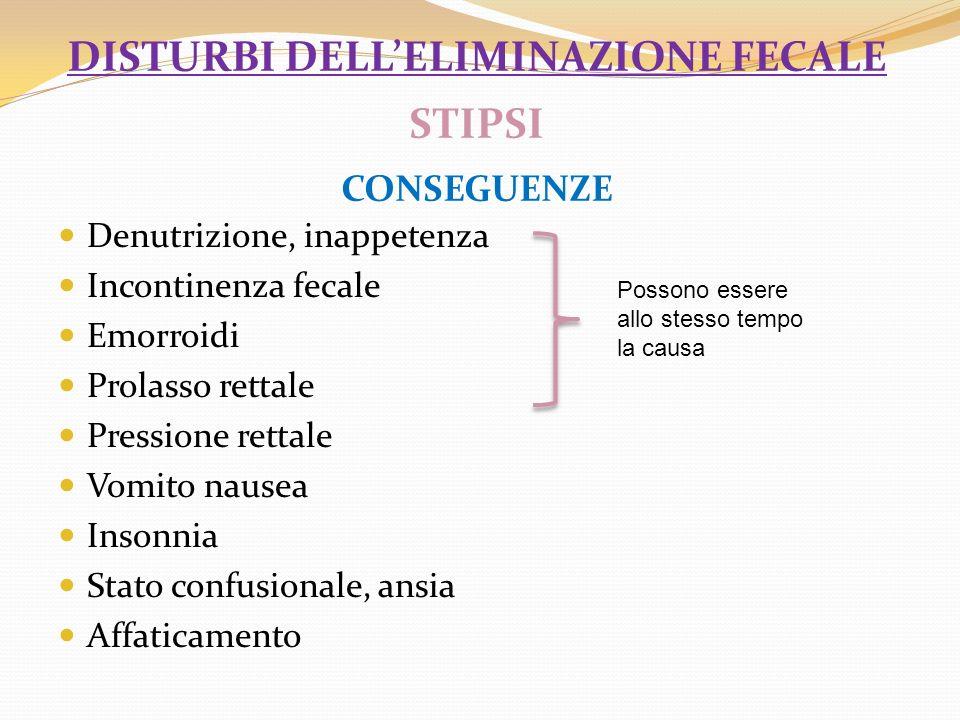 disturbi dell'eliminazione fecale STIPSI CONSEGUENZE