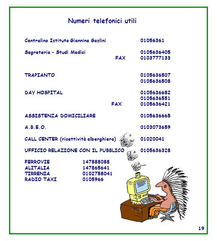 Numeri telefonici utili